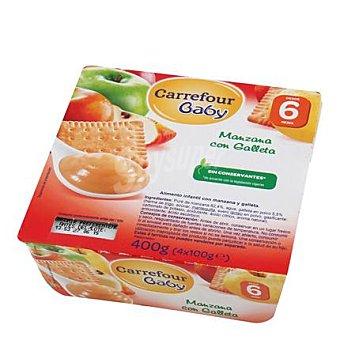 Carrefour Baby Tarrito de manzana con galleta Pack 4x100 g