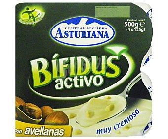 Central Lechera Asturiana Yogur Bífidus con Avellana 4 Unidades de 125 Gramos