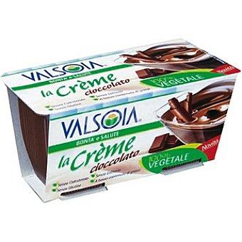 VALSOIA La Crème postre cremoso de chocolate 100% vegetal Pack 2 envase 115 g