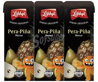 LIBBY'S néctar de pera y piña pack 3 envase 20 cl