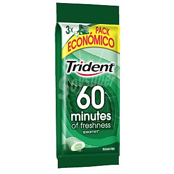 Trident Chicle hierbabuena 40 minutes Pack de 3x20 g