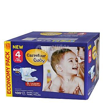 Carrefour Baby Pañal con elástico 7-18 kg talla 4 100 unidades