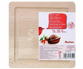 Auchan Tabla de madera para cortar, 2 caras, 18x18 centímetros 1 Unidad