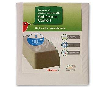 Auchan Protector de colchón 100% algodón, punto liso, antiácaros, 90 Centímetros 1 Unidad