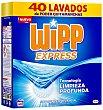 Detergente máquina polvo acción quitamanchas en frio Maleta 40 cacitos Wipp Express