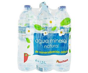 Auchan Agua mineral Botella de 1,50 litros pack de 6