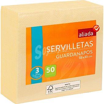 Aliada Servilletas crema 3 capas 33x33 Paquete 50 unidades