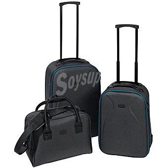 MOODS Set 2 trolleys en color gris y azul + bolso 1 Unidad
