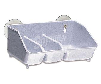 Araven Recipiente de plástico blanco con 3 compartimentos y 2 ventosas para fijarlo en la pared araven