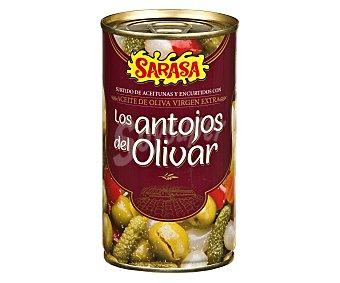 Sarasa Surtido de aceitunas y encurtidos, en aceite de oliva virgen extra Los antojos del Olivar 180 g