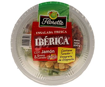 FLORETTE Ensalada fresca ibérica con jamón y queso curado Tarrina 200 g