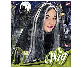 WIDMANN Peluca infantil color negro con mechas fluoroscentes, Halloween Peluca bruja infantil