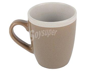Taberseo Mug, taza alta con asa, fabricada en gres color marrón y blanco taberseo