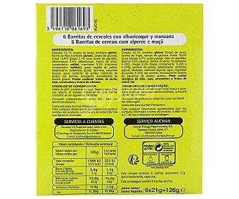 Productos Económicos Alcampo Barritas de cereales con manzana y albaricoque 6 unidades 125 gramos
