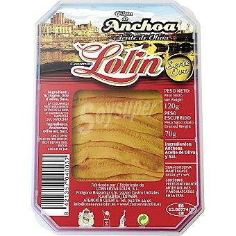 LOLIN Filetes de anchoa en aceite de oliva Bandeja de 70 g
