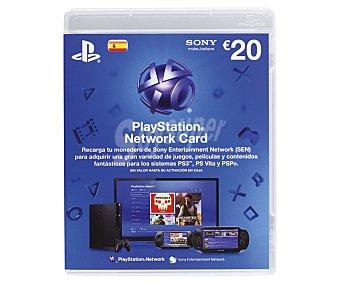 Sony Tarjeta de 20 Euros para Desacargar Juegos, Películas y cualquier otro Contenido de la Tienda Online de Playstation 1 Unidad