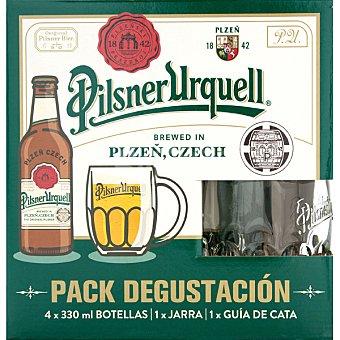 Pilsner Urquell Cerveza rubia checa Kit Degustación + Jarra 4 botellas 33 cl