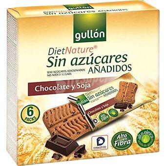 GULLON DIET NATURE Galletas con soja y chocolate sin azúcares añadidos Caja 144 g