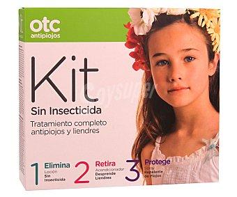 otc Kit antipiojos compuesto por loción insecticida, acondicionador desprende liendres y spray repelente 1 unidad