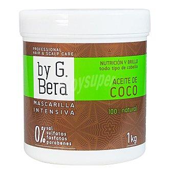 BY g.bera Mascarilla intensiva de aceite de coco 100% natural nutrición y brillo para todo tipo de cabello Tarro 1000 g
