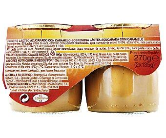 Auchan Postre lácteo sabor toffee Pack de 2 unidades de 135 gramos