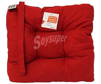 Auchan Cojín para silla, color rojo liso, modelo Capitone, 35x35x8 centímetros 1 Unidad