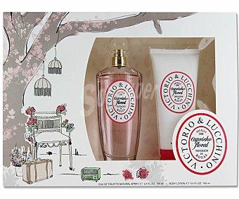VICTORIO&LUCCHINNO Esutuche capricho floral Rosa : Eau de Toilette 100ml + Loción corporal hidratante 100ml 1 Unidad