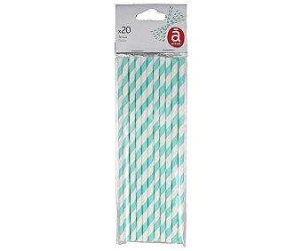 Actuel Pajitas de cartón con rayas azules, 20 unidades, ACTUEL. 20 unidades