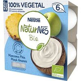 Nestlé Postre vegetal de manzana-piña bio Pack 4 x 90 g