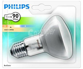 PHILIPS Ecoclassic Bombilla halógena reflectora modelo NR80 70 Watios, con casquillo E27 (grueso) y luz cálida 1 unidad