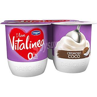 Vitalínea Danone Yogur cremoso desnatado 0% materia grasa con sabor a coco Pack 4 u x 120 g