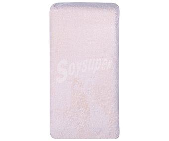 Auchan Sábana bajera ajustable tejido coralina 100% poliéster color rosa salmón para cama de 150 centímetros 1 unidad