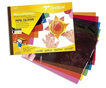Sadipal Bloc de manualidades con 10 hojas de papel celofán de 24x32 centímetros y de colores surtidos 1 unidad