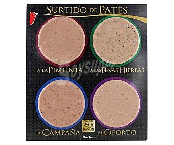 Auchan Tabla de patés (a la pimienta, a las finas hierbas, al oporto y de campaña) 70 gramos