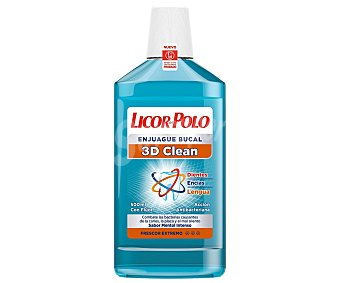 Licor del Polo Enjuague Bucal Triple Acción (anti-placa,anti-caries, Frescor) 3D Clean 500 Mililitros