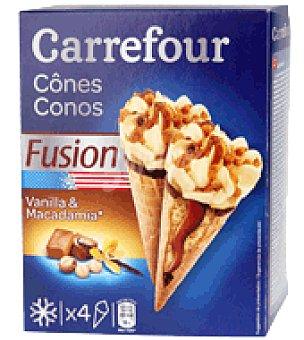 Carrefour Helados Conos vainilla y Macadamia 4 ud