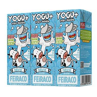 Feiraco Yogur líquido natural azucarado Pack 3 envase 200 ml