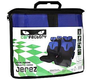CAR FACTORY JEREZ Juego de fundas para asientos de automóvil de talla única y fabricadas en poliester de color de color azul y negro Jerez.