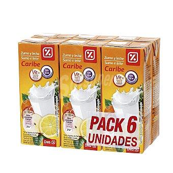 DIA Bebida de frutas con leche caribe Pack 6 unidades 200 ml