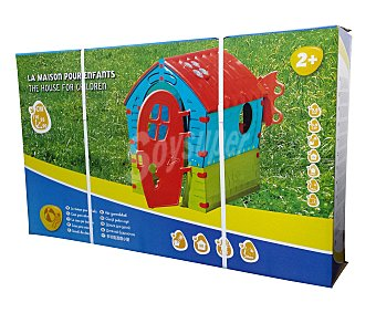 GARDEN STAR Casita infantil de plástico con ventana lateral y puerta frontal de dos partes y puerta trasera, medidas: 95x95x110 centímetros 1 unidad