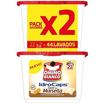 Omino Bianco Detergente Jabón de Marsella en cápsulas Pack 2x22 lavados