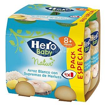 Hero Baby Tarrito de arroz blanco con supremas de merluza Baby Natur Pack 4 x 235 g