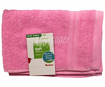 AUCHAN Toalla de algodón biológico lisa para tocador, color rosa, 30x50 centímetros 1 Unidad