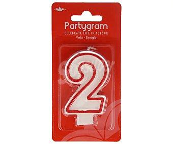 Partygram Vela de cumpleaños número 2 con filo color rojo 1 unidad