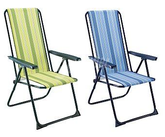 Auchan Tumbona plegable con 5 posiciones para camping y playa. Fabricada en aluminio, tubo redondo de 2.2 centímetros, con asiento de tela acolchado de 2 centímetros y respaldo alto 1 unidad