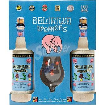 DELIRIUM TREMENS Cerveza rubia especial belga  estuche 2 botellas 75 cl