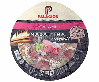 Palacios Pizza de masa fina y crujiente de salami 380 gramos