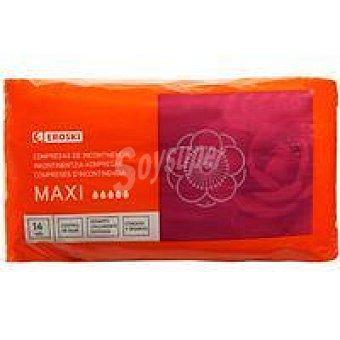 Eroski Compresa de incontinencia leve maxi Paquete 14 unid