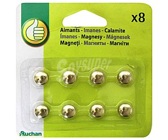 Productos Económicos Alcampo Caja de 8 imanes redondos de 9 milímetros y de color dorado 1 unidad