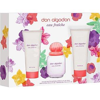 DON ALGODON Eau Fraiche eau de toilette natural femenina + body lotion tubo 75 ml + shower gel tubo 75 ml spray 100 ml
